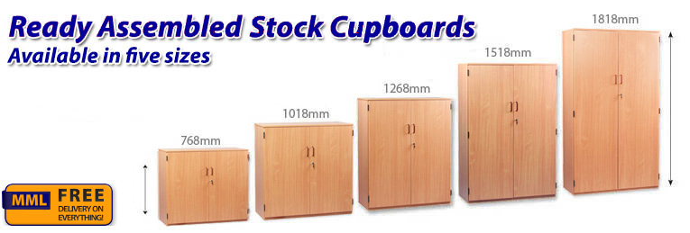 Lockable And Fully Assembled Stock Cupboards In Five Sizes