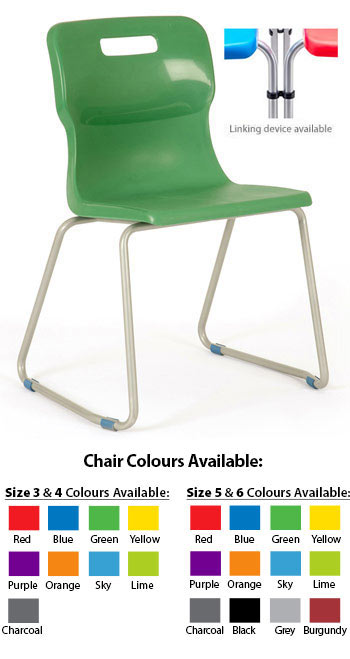 Titan One Piece Classroom Chair Pack of 5 Size 3 for Ages 5-7 Years Plastic Red